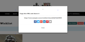 An Example showing distorted modal on My Wishlist page