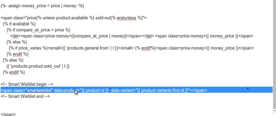 Sample code snippet for collection page in snippets/product-price.liquid